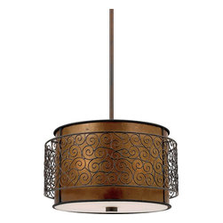 Quoizel Lighting - Quoizel Lighting MC843CRC 3 Light Pendant Ceiling Fixture - This mica piece is an addition to the Quoizel Naturals collection and features a mosaic tile stripe, which appears to be floating around a taupe mica shade.