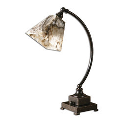 Uttermost - Uttermost Marius Task Lamp - Uttermost Marius Task Lamp is a part of Carolyn Kinder Collection by Uttermost This lamp features oil rubbed bronze metal with a black, brown and ivory marble shade. Lamp (1)