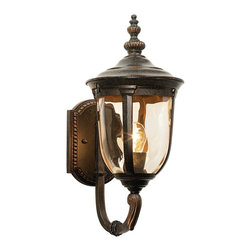"""John Timberland - Bellagio 16 1/2"""" High Upbridge Arm Outdoor Wall Light - A stylish European inspired look with warm champagne-style hammered glass. This handsome, antique style outdoor wall light is an exclusive from the John Timberland lighting collection. Upbridge arm lends the piece a light, refined look. Featuring a champagne-style hammered glass with veranda bronze finish."""