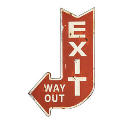 Inova Team -Contemporary Metal Wall Decor - Add a kitschy modern twist to your space with this Metal Exit Sign. Place by your door for added fun.