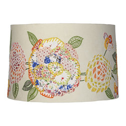 """Lamps Plus - Country - Cottage Embroidered Calico Drum Lamp Shade 15x16x10.5 (Spider) - Covered in ivory cotton fabric with a colorful embroidered calico design this charming lamp shade comes in a drum shape and is easy to install on any new or existing light. Appliqued floral prints are stitched onto the exterior and the spider fitter within is a coated in a glittering chrome finish. This hardback shade comes unlined. Drum lamp shade. Embroidered calico floral pattern. Ivory cotton fabric. Unlined. Chrome spider fitter. 15"""" across the top. 16"""" across the bottom. 10 1/2"""" on the slant.  Drum lamp shade.  Embroidered calico floral pattern.  Ivory cotton fabric.  Unlined.  Chrome spider fitter.  15"""" across the top.  16"""" across the bottom.  10 1/2"""" on the slant."""