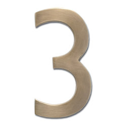 """Architectural Mailboxes - 4"""" Floating House Number Antique Brass """"3"""" - Your numbers look good. That's because your house numbers are solid brass with a classic antique finish. Best of all, you can attach them to the wall so they appear to float, making them even more handsome."""
