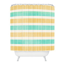 DENY Designs - Allyson Johnson Summer Time Stripes Shower Curtain - Who says bathrooms can't be fun? To get the most bang for your buck, start with an artistic, inventive shower curtain. We've got endless options that will really make your bathroom pop. Heck, your guests may start spending a little extra time in there because of it!