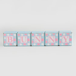 K&K Interiors - Small Blue 'Bunny' Block Sign - Ready to display on your mantel or shelf, this colorful block sign enhances the springtime spirit of your home décor.   Includes five blocks 2'' W x 2'' H x 2'' D Imported
