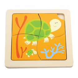 The Original Toy Company - The Original Toy Company Kids Children Play Turtle 1st Puzzles - These classic four piece puzzles with colorful pieces set into a wooden tray that is imprinted with a puzzle for matching up.
