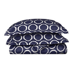 600 Thread Count Full/Queen Duvet Set Cotton Rich Scroll Park - Navy Blue/White - Brighten up your home with this Duvet Cover Set from the Scroll Park Collection. Featuring a modern redesign of an ancient symbol, an emblem of positive energy, this duvet cover set will make you feel like you're surrounded by pure positivity. Set includes One Duvet Cover 90x90 and Two Pillowshams 20x26 each.