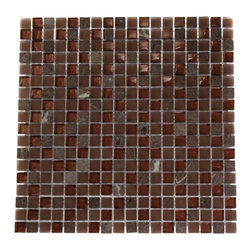 "Squares Copper Clay Blend Marble & Glass Tile - COPPER CLAY BLEND 1/2X1/2 GLASS TILE The smooth glass and stone combination creates a beautifully multi-dimensional effect. Great to install in kitchen backsplashes, bathrooms and any decorated spot in your home. The mesh backing not simplifies installation, it also allows the tiles to be separted which adds to their design flexibility. Chip Size: 1/2"" x 1/2"" Color: Metallic Copper, Copper, Rojo Verona Material: Stone & Glass Finish: Textured, Frosted, and Tumbled Sold by the Sheet - each sheet measures 12"" x 12"" (1sq. ft.) Thickness: 8mm -Glass Tile -"