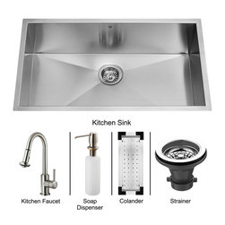 Vigo - Vigo Undermount Stainless Steel Kitchen Sink, Faucet, Colander, Strainer and Di - Vigo keeps your needs in mind when it comes to kitchen essentials.