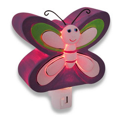 Adorable Purple Butterfly Childrens Night Light Nite Lite - This purple butterfly night light adds an adorable accent to your child`s room, while providing just enough light to ease his/her mind in the dark nighttime hours. Made of cold cast resin, it measures 5 1/2 inches tall, 4 1/2 inches wide, and 2 inches deep. It has a 360 degree swivel plug to accommodate any outlet, and it uses a 7 watt (max) type C night light style bulb (included). The light has an on/off switch on the front, and is recommended for children ages 6 and up.