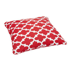 None - Scalloped Red Corded Outdoor/ Indoor Large 28-inch Floor Pillow - Bring outdoor durability inside for everyday use with this indoor/ outdoor decorative floor pillow. Featuring stain,fade,and mildew resistant fabric,this comfortable floor pillow is trimmed with matching cording for dramatic style.