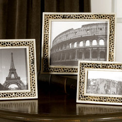 Carnelia, Photo Frames, S/3 - These frames are made of pieced bone and horn with a burned giraffe pattern. Holds photo Sizes: 4×6, 5×7 & 8×10.