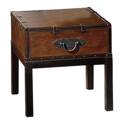 Steve Silver - Steve Silver Voyage 24x20 End Table in Antique Cherry - Create a classic style with the brown Voyage trunk, cocktail, and end tables. This gorgeous coffee table has a rectangle shape and features a trunk style. With square legs this trunk has leather like finish in a rectangle shape and nail head trim around the bottom and the opening with a metal flap lock. The top is smooth with decorative leather like trim with straps and metal pulls on the sides. This Voyage dark brown coffee and end table will bring decorative charm to any home decor. What's included: End Table (1).