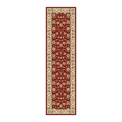 Safavieh - Lyndhurst Collection Floral Burgundy/ Ivory Runner (2'3 x 8') - Traditional Persian and European designs enhance any living room or home decor Runner features floral motif set on red background with ivory border Enhanced polypropylene area rug construction keeps dirt out