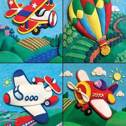 """First Flight Puzzle - 36 Piece Jigsaw PuzzleFour different kinds of flying machines """"painted"""" onto a canvas made of clay: This puzzle is fun in all kinds of ways! The bright colors and strong lines of this puzzle make it fun to put together and lets your imagination soar."""