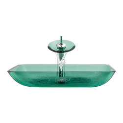 MR Direct - MR Direct 640e Emerald Colored Glass Vessel Sink, Chrome, 4 Items: Vessel Sink, - Make a personal design statement with the MR Direct 640-emerald ensemble; a distinctive, vessel-sink and waterfall-faucet combination. MR Direct glass vessel sinks are created of thick, tempered glass, making them less vulnerable to damage from high temperatures. The non-porous, polished surface is extremely attractive and sanitary; naturally resistant to stains, odors and discoloration. The waterfall faucet features solid-brass construction and a matching glass disc, over-which water lightly cascades into the vessel bowl. Water flow and temperature are easily controlled with the extended swivel handle. The ensemble includes a specially-designed, vessel pop-up drain that springs into place with a gentle touch. A matching sink ring is also provided for support of the bowl – required for the above-counter installation. Available in your choice of Brushed Nickel, Chrome, and Oil Rubbed Bronze finishes. Limited Lifetime Warranty.