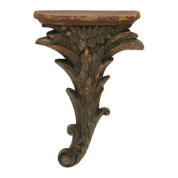 Benzara - Vintage Inspire Floral Style Corbel Shelf - Inspired by the design of art and architecture in the ancient world, this floral corbel shelf evokes the feeling of being in an old Greek or Roman villa. Made with durable polystone, this floral shelf maintains its look for years to come. Hang this in your home office to keep extra photo frames of the family. Or hang a series of them down a long hallway.