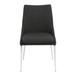 Eurostyle - Tarnana Side Chair (Set of 2) - Charcoal/Chrome - Fabric over foam seat and back