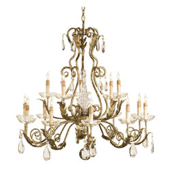 Callum- Chandelier - Tuscan Chandelier with Gilded Iron Frame Accented by Crystal Drops and Finials