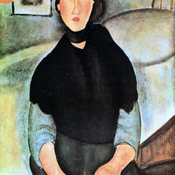 "Amedeo Modigliani Dark Young Woman Seated by a Bed - 16"" x 24"" Premium Archival - 16"" x 24"" Amedeo Modigliani Dark Young Woman Seated by a Bed premium archival print reproduced to meet museum quality standards. Our museum quality archival prints are produced using high-precision print technology for a more accurate reproduction printed on high quality, heavyweight matte presentation paper with fade-resistant, archival inks. Our progressive business model allows us to offer works of art to you at the best wholesale pricing, significantly less than art gallery prices, affordable to all. This line of artwork is produced with extra white border space (if you choose to have it framed, for your framer to work with to frame properly or utilize a larger mat and/or frame).  We present a comprehensive collection of exceptional art reproductions byAmedeo Modigliani."