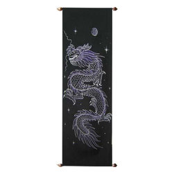 Oriental-Decor - Dark Dragon Oriental Scroll - The Chinese dragon is considered a divine creature with the ability to fly in the air, swim in the sea and walk on land. This uniquely painted Oriental scroll depicts a Chinese dragon under the cloak of night. The dragon is considered to be an emblem of honor, fortune and valor in Chinese culture. Hang this beautiful dragon scroll painting in any room for a magical display.