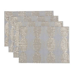 """Blissliving Home - Mendoza Placemat - Features: -Material: 55% Linen, 45% cotton. -Matching table runners and complementary, solid-color napkin sets and cocktail napkin sets also available. -Reverses to solid. -Gold sequins and embroidery shimmer across our rectangular, linen blend placemats like moonlight on the Rio de la Plata. -Dimensions: 20"""" W x 14"""" D."""