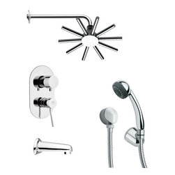 Remer - Sleek Modern Round Shower System - Multi function tub and shower faucet.