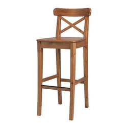 Carina Bengs - INGOLF Bar stool with backrest - Bar stool with backrest, antique stain