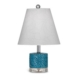 Bassett Mirror - Bassett Mirror Noma Table Lamp - Pretty details and a svelte shape give the Noma Table Lamp its bright, contemporary look. The large white stenciled empire shade is offset by the lamp's bright turquoise ceramic with a raised pomegranate design. Other features include a circular acrylic base, crystal ball finial and chrome stem. Place it atop a bedroom nightstand or living room side table. Requires 60 watts or less, bulbs not included.