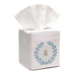 Jacaranda Living - Tissue Box Cover - Linen Tissue Box Cover embroidered with the Napoleon Bee Wreath in duck egg blue. Made by Zulu women in South Africa.