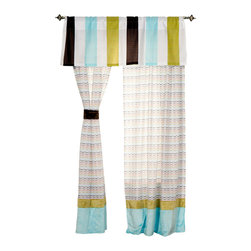 Puppy Pal Boy - Valance - Valance brings in all the collections colors with larger stripes of blue, green, chocolate and white.