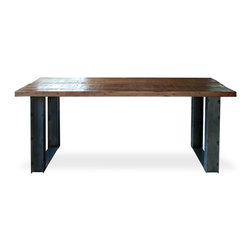 """Blake Avenue - Mt Whitney Table - This table is made individually by a few of us seasoned furniture makers in Los Angeles, using locally sourced century old reclaimed Douglas Fir. This will make a stunning statement in any room and any home. Works great as a chef's table, creative work space, or as a classic dining table made to last generations to come. We make these to order so if you are looking for a custom size, that is no problem for us at all. The standard size is 72"""" x 36"""" x 30"""" tall."""