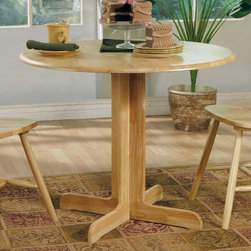 Coaster - Dining Table in Natural - This lovely solid wood butcher block table will be a welcome addition to your breakfast nook or casual dining area. The smooth round table top features a drop leaf for convenient everyday use, above a simple pedestal base. Pair with matching chairs for a harmonious style that you will love.