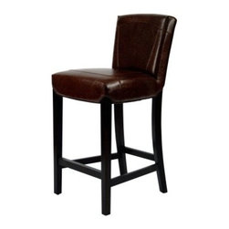 Safavieh Ken Bicast Leather Bar Stool - Cherry Mahogany - The Safavieh Ken Bicast Leather Bar Stool - Cherry Mahogany has classic comfort and refined style perfect for your bar. This bar stool is well-crafted of solid beech wood in a cherry mahogany finish. The cushioned seat and back are upholstered in a deep brown bi-cast leather with a protective coating for stain resistance. Double stitching adds detail, while footrests add comfort.About SafaviehSafavieh is a leading manufacturer and importer of fine rugs. Established in 1914 in the capital of Persian weaving masters, the company today brings three generations of knowledge and experience to its award-winning collections. In the United States since 1978, Safavieh has been a pioneer in the creation of high-quality hand-made rugs, a trend that revolutionized the rug business in America. Its collections range from the finest antique and historical reproductions to the most fashion-forward contemporary and designer rugs.