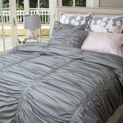 Gray Ruched Duvet Set, The Mirabel Gray - Layer your bed with the expressive and luxurious textures of our modern gray Mirabel ruched duvet cover. With its volume and dimension, the Mirabel gray ruched duvet cover is versatile and pairs beautifully with any patterned bedding, making it the ultimate choice for creating a bedroom sanctuary.