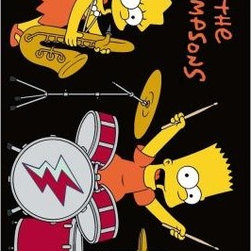 """Fun Rugs - Area Rug: The Simpsons Rock Stars Black 5' 3"""" x 7' 6"""" - Shop for Flooring at The Home Depot. You don t need to play in a band to rock your room with this awesome rug! But if you are in a band or simply want to learn how to play an instrument this will give you inspiration to rock on. Join their awesome duo band. No need to play the baritone sax like Lisa or the drums like Bart, just give any instrument a try and have fun! Fun for anyone to have anywhere he or she pleases. Visually appealing with its colors, this rug can just about go anywhere. Black background, multi-colored. Tufted rug, not machine washable."""