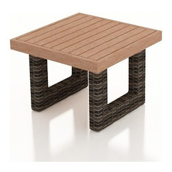 Forever Patio - Bayside Outdoor End Table with Durawood Top, Stone Wicker - Add function and beauty to your Bayside seating with the compact yet practical Bayside End Table (SKU FP-BAY-ETDW-SW). The Stone Wood wicker is infused with color and UV-inhibitors, creating a look that will last throughout the seasons. It also sports a thick, flat-weave design that is brimming with modern beauty. The table comes with a Durawood top, creating a warm contrast to the wicker. Durawood is a natural-looking, high-density polymer which is as durable as it is easy to maintain