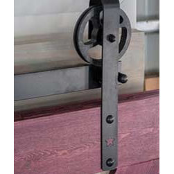 Industrial Sliding Door Kit - Using a full package strap trolley kit, created an industrial style sliding door.