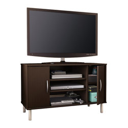 South Shore - South Shore Renta Corner TV Stand in Chocolate - South Shore - TV Stands - 4519690 - An affordable choice: The combination of closed and open storage spaces in this modern-design corner TV stand from the Renta Collection makes it a highly functional piece. Its simple lines and metallic touches make for a contemporary style that goes well