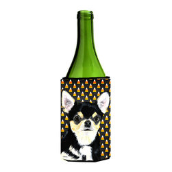 Caroline's Treasures - Chihuahua Candy Corn Halloween Portrait Wine Bottle Koozie Hugger - Chihuahua Candy Corn Halloween Portrait Wine Bottle Koozie Hugger Fits 750 ml. wine or other beverage bottles. Fits 24 oz. cans or pint bottles. Great collapsible koozie for large cans of beer, Energy Drinks or large Iced Tea beverages. Great to keep track of your beverage and add a bit of flair to a gathering. Wash the hugger in your washing machine. Design will not come off.