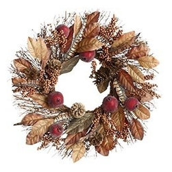 Pomegranate & Magnolia Leaf Wreath - If you're not a DIY-er, this ready-made wreath of magnolia, berries, pine cones and pomegranates will be a beautiful welcome to your guests for autumn. Every front door needs something pretty on it!