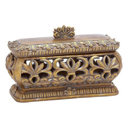 Benzara - Solid Polystone Pierced Box with Gold Polish - If you thought royalty has been replaced by abstract designs, this pierced box is made available for you to ensure your decor has only the finest and the most magnificent pieces in the collection. Perfectly suitable for your dressing table top, with your exquisite jewelry in it or in your living room as an imperial showpiece, this pierced box is sure to win you accolades for your great choice. Embraced with gold polish all over with a grey wash, this pierced box is spacious from inside and owns the intricate work all-round the box. Offering a royal appeal, it has a carved small handle to open up to well-finished interiors. Keep your precious jewelry or bangles in style and carry it along anywhere you like safely. This is a sturdy box that will continue to serve you for a long time to come.