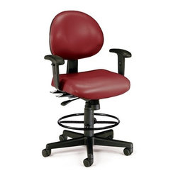 OFM - OFM 24 Hour Computer Task Chair (Arms, Drafting Kit, Vinyl), Wine - This multi-shift chair can handle continuous sitting, 24 hours a day, 7 days a week. Great for government offices that require around-the-clock staffing, like hospitals and police stations. The adjustable back can fit anyone who uses it. The vinyl covering is easy to maintain in high-use environments. The anti-bacterial, anti-microbial vinyl covering is great for keeping rooms germ-free! ANSI/BIFMA approved.
