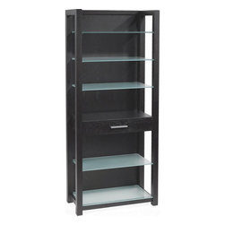 Euro Style - Euro Style Ballard Shelving Unit 27375A/27375G - The tempered glass surfaces of the Ballard Collection make light of any work situation. Silver printed tops and shelves are sturdy and smudge-proof. There's nothing off the shelf about the Ballard bookcase. Six silver-glass shelves lighten up the heaviest reading material. And a desk height drawer is the perfect hiding place for office essentials. Like chocolate.