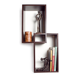 Danya B - Set of Two Rectangular Intersecting Wooden Walnut Wall Mount Shelves - This gorgeous Set of Two Rectangular Intersecting Wooden Walnut Wall Mount Shelves has the finest details and highest quality you will find anywhere! Set of Two Rectangular Intersecting Wooden Walnut Wall Mount Shelves is truly remarkable.