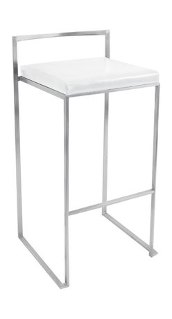 "Lumisource - Fuji Stacker Bar Stool, White - 17.5"" L x 17"" W x 34"" H"