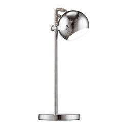 ZUO PURE - Cyber Table Lamp Chrome - Perfect for any small space. The Cyber table lamp is constructed of chrome. 40W max bulb is included. Comes in white, black or chrome finishes. It's UL approved.
