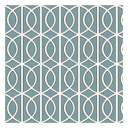 Aqua Modern Trellis Linen Fabric - Rounded trellis in dark aqua & white on soft lightweight line. Your gateway to a chic modern look.Recover your chair. Upholster a wall. Create a framed piece of art. Sew your own home accent. Whatever your decorating project, Loom's gorgeous, designer fabrics by the yard are up to the challenge!