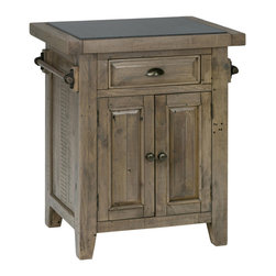 Jofran - Jofran 941-86 Reclaimed Pine Kitchen Cart with Granite Top and Pull-Thru Drawer - Looking for a way to add a quick kitchen island to your entertainment room arrangement with this small kitchen server you may have found your solution. This piece features a reclaimed pine wood construction with a beautiful Slater Mill Pine finish that calls out the beauty in natural wood imperfections. Use the granite insert in the cabinet top for serving purposes with handles on the sides for dishtowels and hidden storage inside the piece.