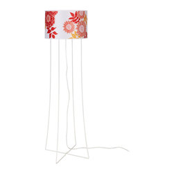 Lights Up! - Virgil Floor Lamp, White Powder Coat Base, Anna Red - Liven up your stale room with the addition of this fun floor lamp. The interesting metal base and cheerful shade instantly refreshes your boring old look.
