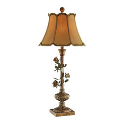None - Rose Vine Lamp with Gold Scallop Trimmed Shade - This elegant lamp features a rich, gold finish topped with a fabric lined, round gold shade. Upgrade the look and feel of any room with this beautiful fixture.